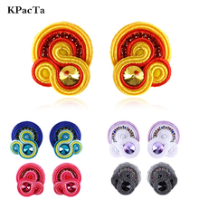 KPacTa New Handmade Weaving Soutache Drop Earring Ethnic Jewelry Female Crystal Banquet Accessories boucle doreille