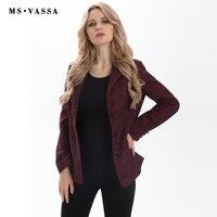 MS VASSA Spring Blazer Women 2017 Fashion Slim Three Button Closure Blazer Notched Collar Plus Size