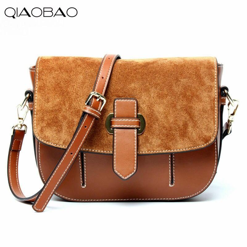 Qiaobao 2018 Новые матовые натуральной кожи шить седельная сумка женская сумка на плечо диагональ посылка кожаные сумки