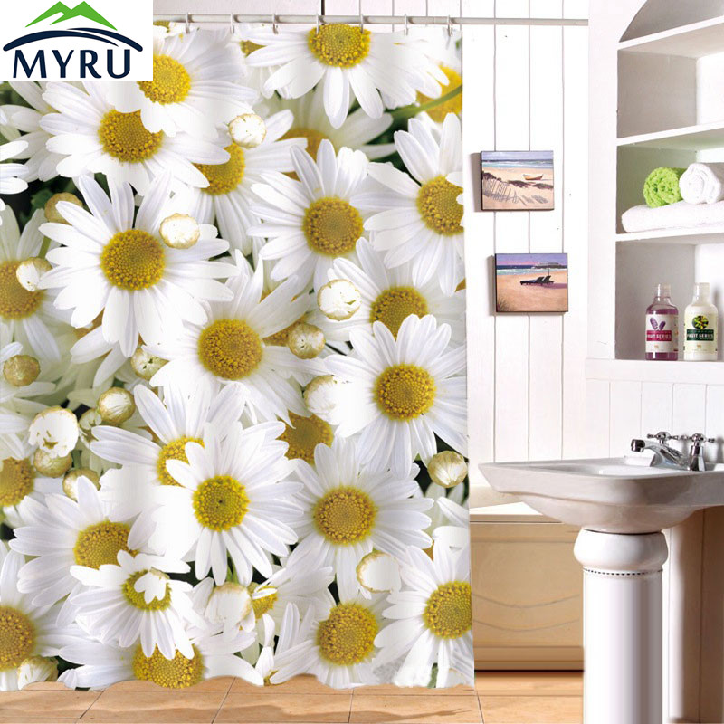 180x180cm Shower Curtain Waterproof Curtians 3D Daisy Digital Printing Shower  Curtain Bathroom Curtain Free Shipping(