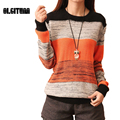 2016 Winter Sweater Fashion Leisure Female Striped Full Sleeves Shirt Sweater Tops  Contrast Color Knitted 2 Colors