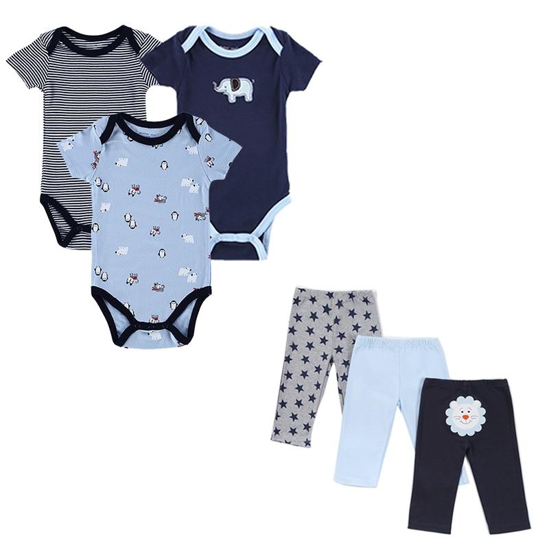 6 Pcs/lot Newborn Baby Boy Clothes Short Sleeve Infantil Brand Cotton Bodysuit+Pant Girl Clothing Set