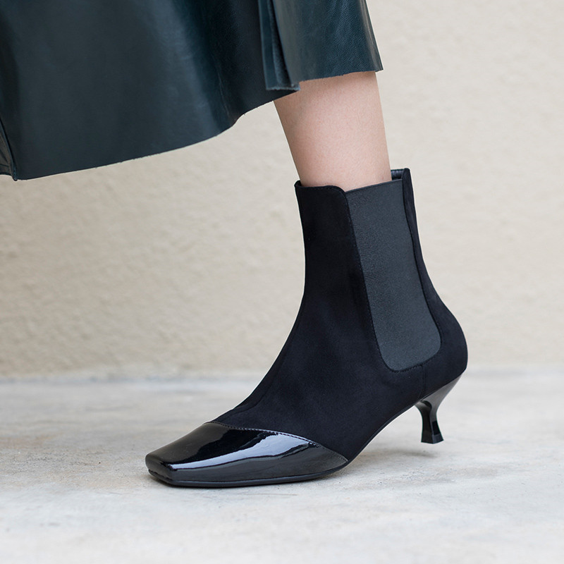 pattern A Patrón Negro Zapatos Invierno Botas Serpiente snake La Resbalón Clásico Moda En Pie Black Del Mujer Cuadrado Tacones Sexy Dedo De aq15w7