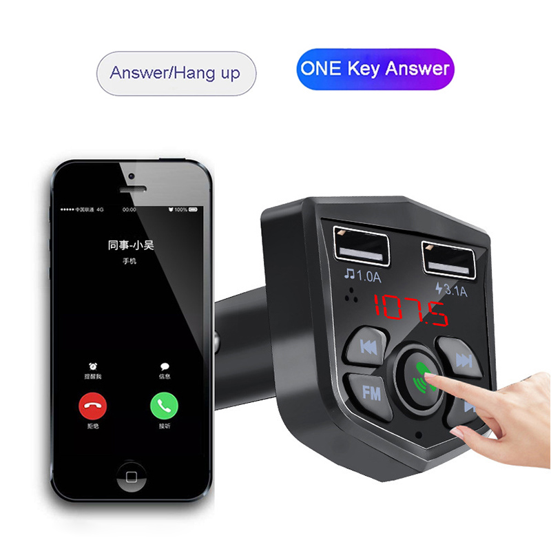 Image 3 - Bluetooth 5.0 Car Kit Handsfree Wireless Bluetooth FM Transmitter Car MP3 Player 3.1A Quick Charging Dual USB Charger TF Card Z2-in Bluetooth Car Kit from Automobiles & Motorcycles