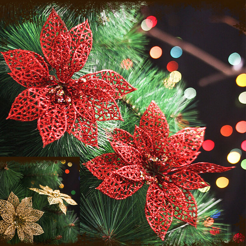 5 colors 6 inch 1pc xmas tree glitter flower hollow christmas wedding party decor ornaments artificial