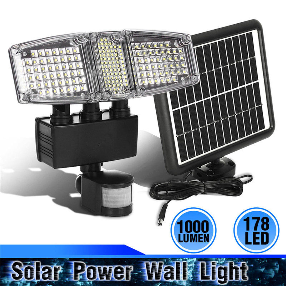 178 LED Triple Head Solar Powered PIR Motion Sensor Activated 1000 Lms 3.6W Outdoor Flood Light Weatherproof Solar Lamps