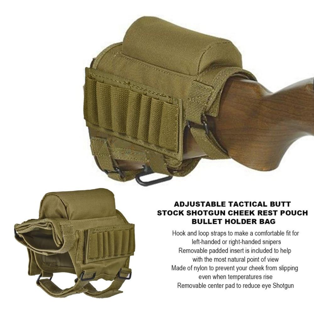 Portable Réglable En Nylon Tactique Butt Stock Shotgun Cheek Rest Poche Bullet Titulaire Sac En Plein Air Chasse Gun Crosse Sac Nouveau