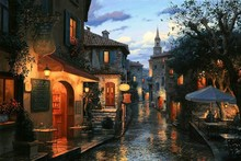 painting Lushpin Evening Street European  Playground Cafe bar tables umbrellas House cloth silk art wall poster and prints
