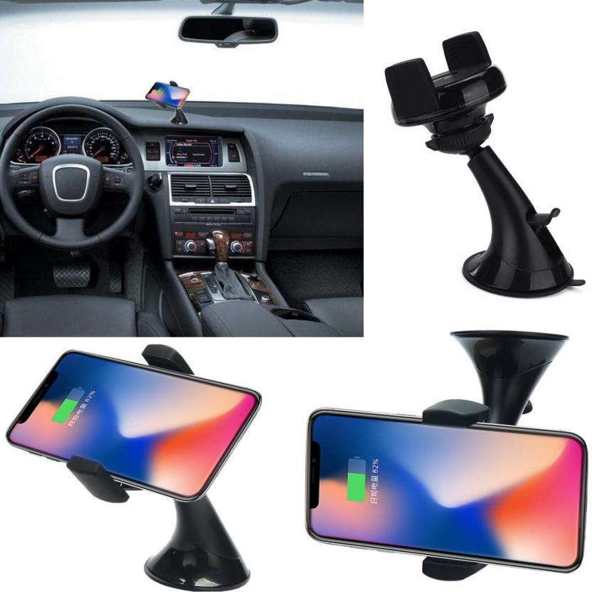 Binmer 2018 360 Degree Qi Wireless Fast Car Charger Mount Holder Stand For Samsung Note 9 iPhone X New Dropshipping AUG 15