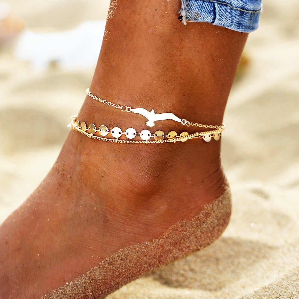 Bohemian Eagle Sequins Anklets For Women Fashion Gold Color Bracelet Anklet on the Leg Beach Foot Chain Jewelry Accessories 2019