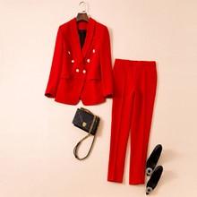 HIGH QUALITY Newest 2021 Designer Runway Women's Elegant Shawl Collar Gold Lion Buttons Blazer Pants Solid Suit Set