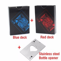 2 Pieces Plastic Poker Bottle Opener PVC Waterproof Playing Cards Novelty High Quality Collection Gift Durable
