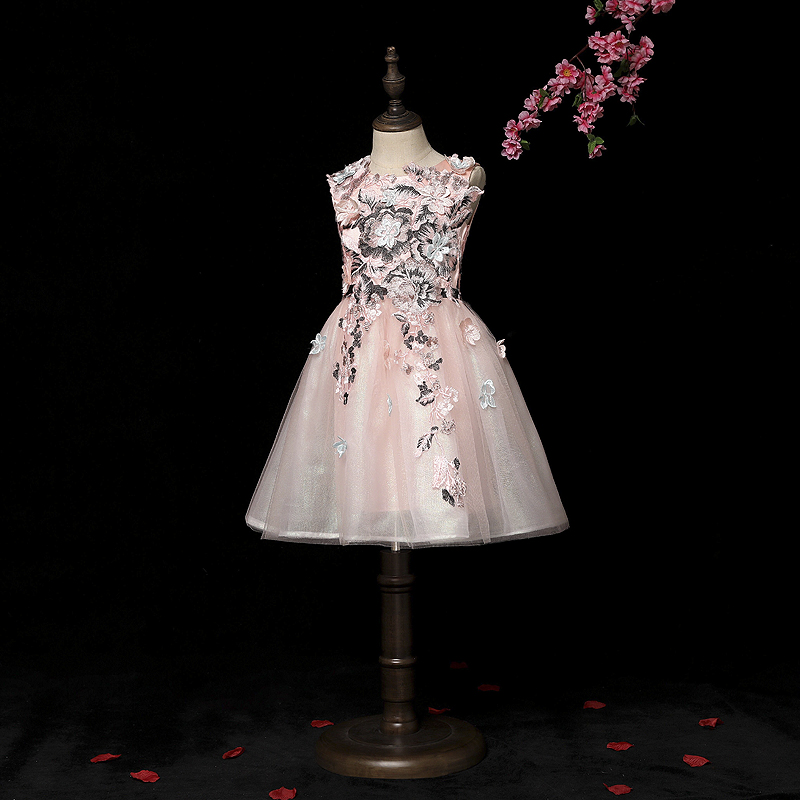 Finove Flower Girls Dress 2019 New Ankle Length Pink Floral Appliques Tulle Ball Gown Summer Dress Princess Gown Party Wear-in Flower Girl Dresses from Weddings & Events    1