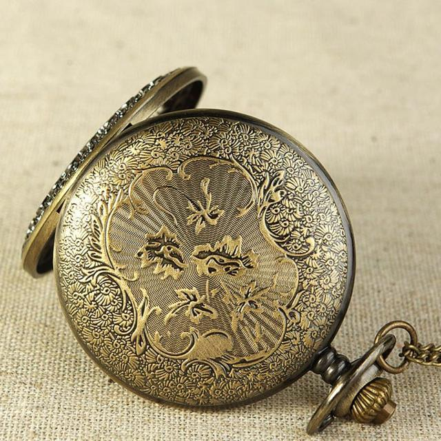 2017 NEW Vintage Bronze Tone Spider Web Design Chain Pendant Men's Pocket Watch