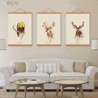 Retro Vintage Màu Nước Trừu Tượng Deer Head Khung Gỗ Canvas Tranh Triptych Trang Trí Nội Thất Tường Nghệ Thuật In Hình Ảnh Poster