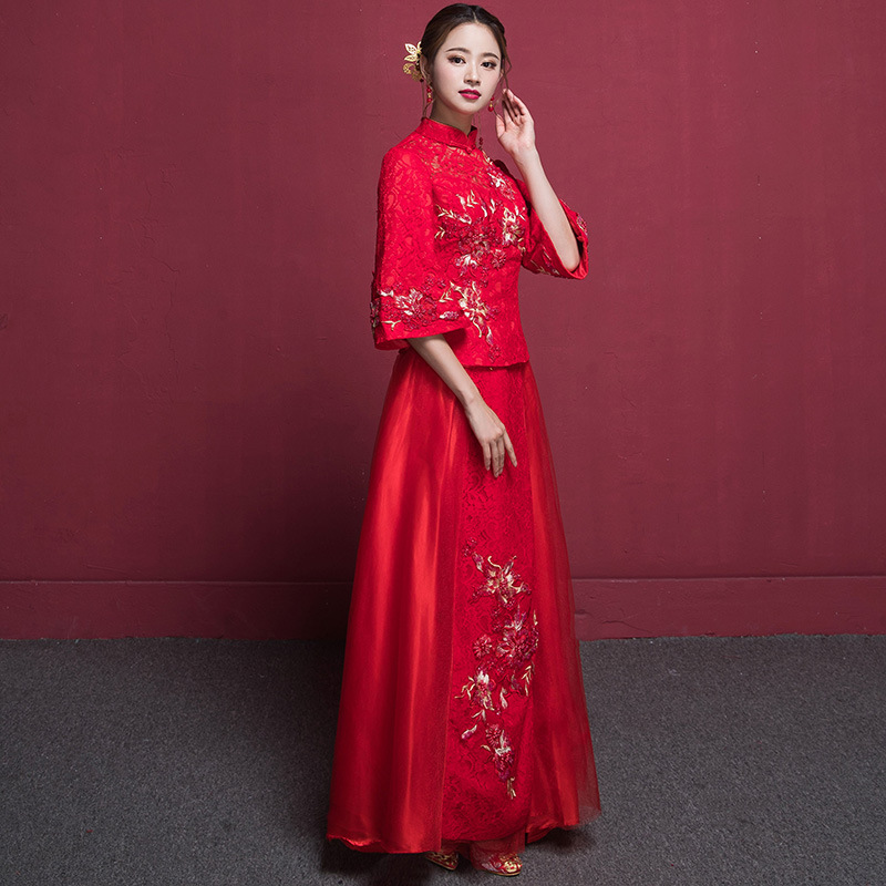 Bride Red Satin Cheongsam Wedding Dress Women Chinese Traditional Qipao Embroidery Dresses Robe Mariage Femme Retro Qi Pao 2017new chinese traditional baby girls chi pao cheongsam red dress new year gift children clothes kids embroidery party dresses