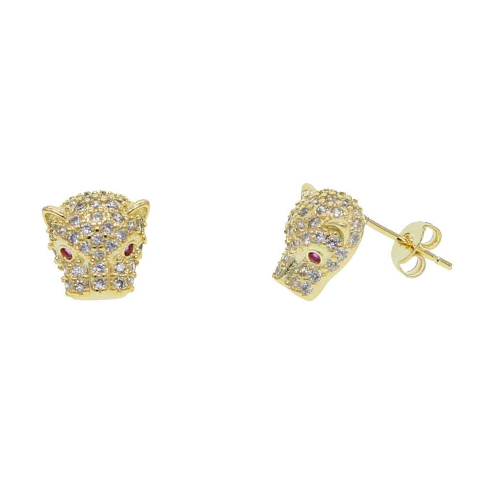 Dropshipping Mini Leopard głowy stadniny kolczyki dla kobiet mężczyzn betonowa wyczyść CZ Hip Hop kolczyk biżuteria fajne zwierząt kolczyki ze sztyftem na prezent