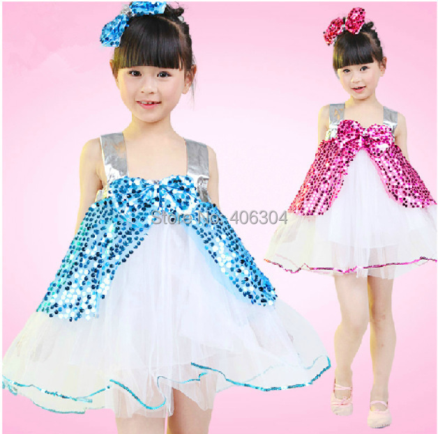 Free shipping .hot pink,blue ,yellow,red,Children jazz dress,Girl's sequin stage dance dresses with headband