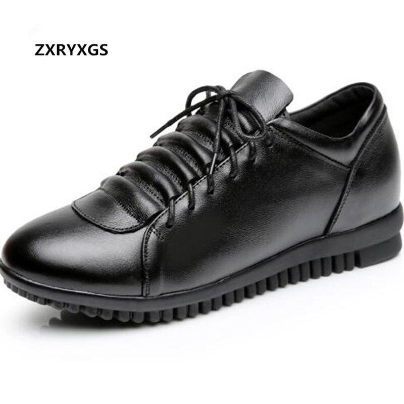 2019 En Vaca Encaje Calidad Cuero Mujeres Alta Aumento Primavera Casuales Planos Las De Genuino Negro Zapatos Nueva TxSqwrAT