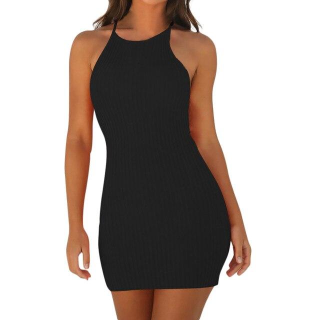Fashion Women Sexy Backless Basic Dresses Vestidos Bodycon Dress Strap Solid Dress Sling Sleeveless Holiday Party Mini Dress 1