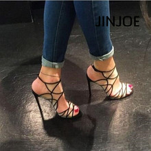 JINJOE Woman shoes Black Sexy hollowed out fashion high heel sandals Rome style Gladiator high heels Hasp  Perspective grid mature temptation mysterious sexy fashion ultra high documentary shoes black roman style hollow out super high heels