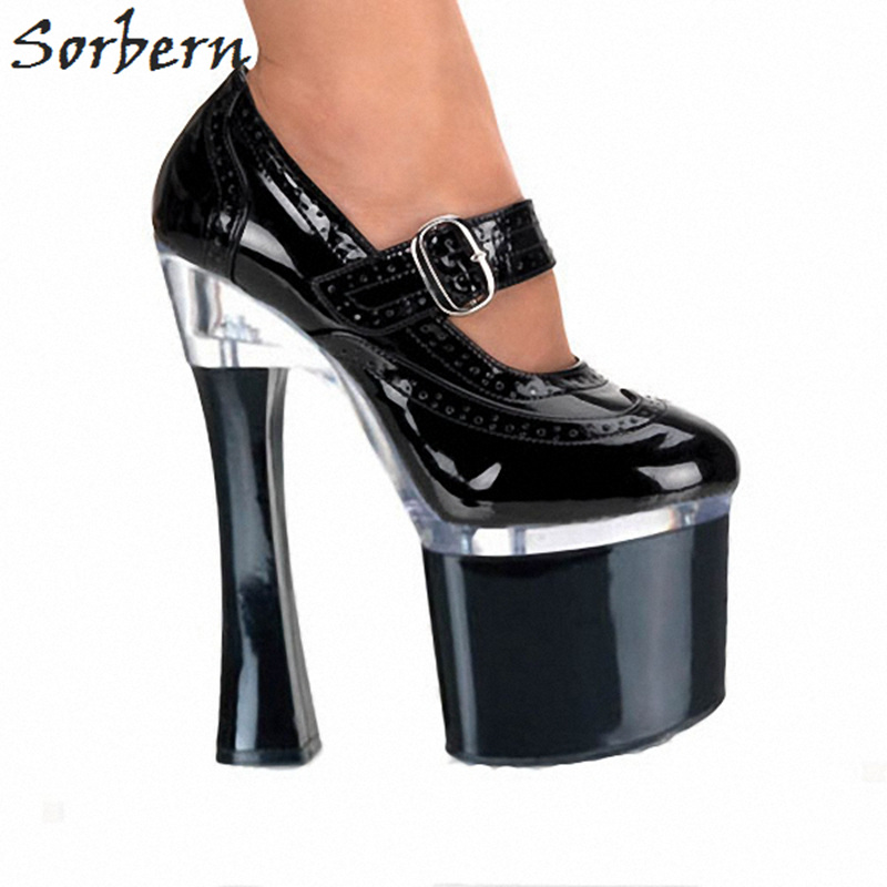 Sorbern 18Cm Chunky Heels Ankle Strap Women Pumps 8Cm Platform Ultra High Heels Mary Janes Ladies Shoes Round Toe Woman Shoes black women pumps mary janes style ladies extra high heels round toe think platform stilettos ankle straps new 2017 real photos