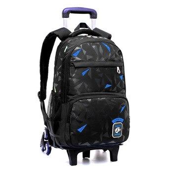Grades 4-9 Kids Trolley Schoolbag Book Bags boys girls Backpack waterproof Removable Children School Bags With 2/6 Wheels Stairs Kids & Baby Bags