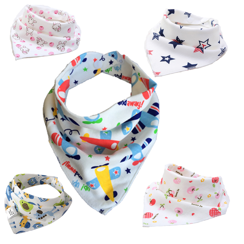32pcs/lot Newborn BABY BIBS triangle Double Layers Cotton Cartoon Child Bib Baberos Children Scarf Bandana Baby Bibs For Babies