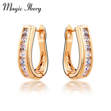 Magic Ikery Big Brand Top Zircon Crystal Special O Earrings with Gifts Box Champagne Gold Color Stud Earrings for Women MKY165
