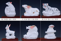 Simple color of ceramic sleeping cattle Crafts Rat ox tiger Horse sheep Chicken dog and pig Living Decoration home statues