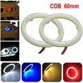 2 шт. белый 60 ММ COB универсальный LED angel eye фары супер яркий COB световое кольцо кольцо кольцо с крышками предупреждение свет @ 11202 @ @ @