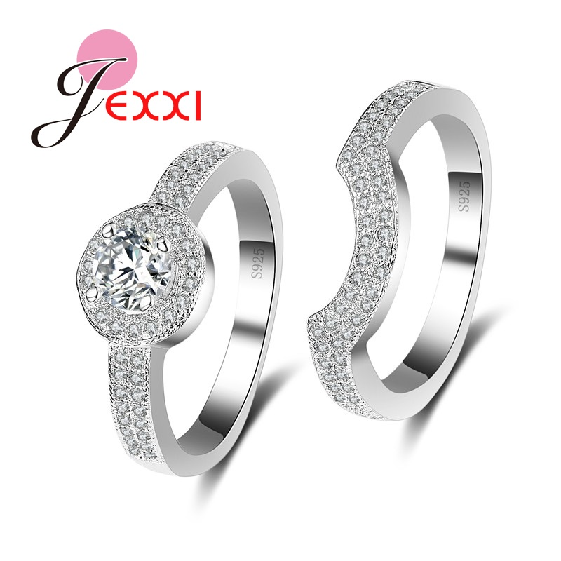 JEXXI New Arrival 925 Sterling Silver Finger Rings with Rhinestone Crystal for ladies Engagement Boutique