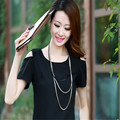 New Women three Layer Metal Button Accessories Long Necklace Sweater Chain Female Luxury bijoux SXRR366