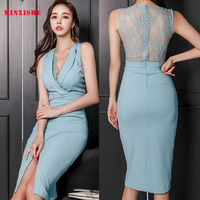 Summer New Women Dress 2019 Elegant Midi Lace v neck Sexy Sleeveless Mesh Backless Split party Bandage Korean style blue Dress