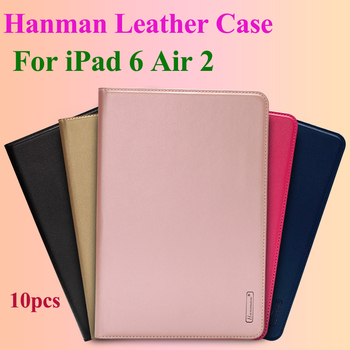 10pcs Hanman Flip Leather Case For iPad 6 Air 2 Business Genuine Leather Wallet Card Slot Case Cover