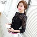 2015 Primavera Outono blusa feminina Elegante Sexy lace camisa de manga longa Mulheres Marca Chiffon Blusa Mulheres tops de renda 95B 30