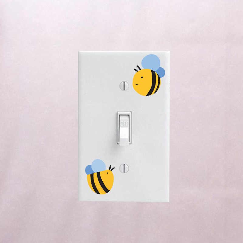 YOJA Karikatür Arılar PVC Duvar Sticker Renk Anahtarı Çıkartması Oturma Odası Yatak Odası Dekor 12ss0240