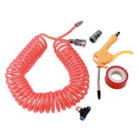 9m PE Spring Pipe Cleaning Spray Gun Air Blow Dust With Pneumatic Air Hose Connector Tube