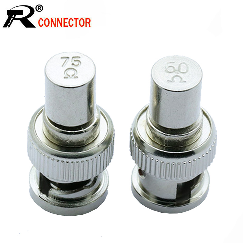 10 pçs/lote 50ohm/75ohm bnc macho plug terminal 5050/ 7575bnc terminator masculino rf bnc conector para cctv