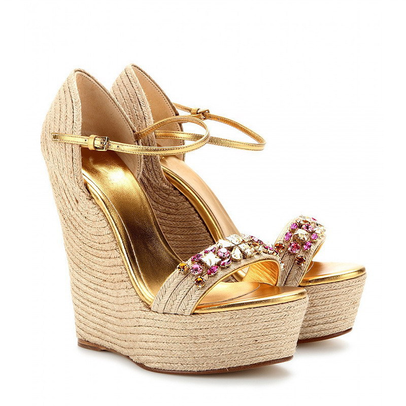 0a8cc1fa545c4 Online Shop Trends jewelry women shoes sandal Jeweled Espadrille Wedge  Sandals plus size women crystal dress shoe