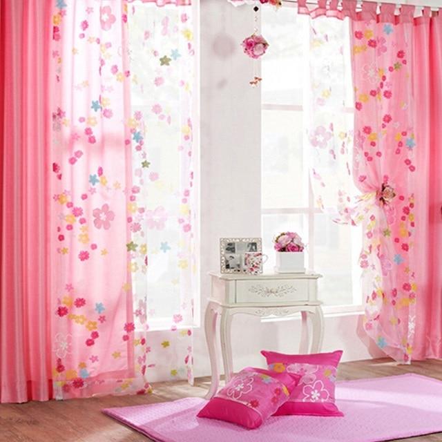 Bunte Blumen Fenster Vorhang Schlafzimmer Wohnzimmer Drapieren