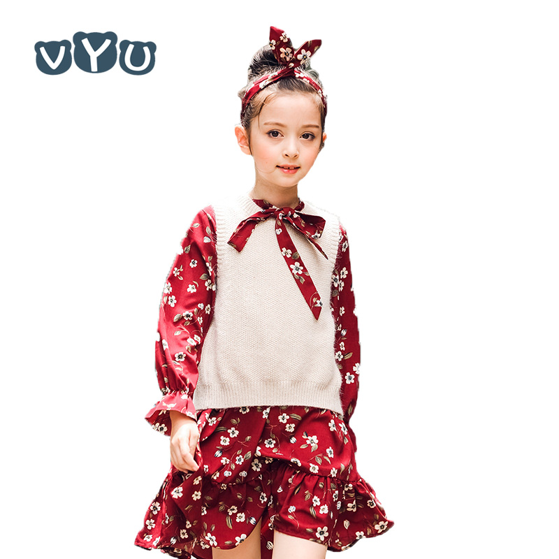 VYU Children Clothing High Quality Girl Suit Dress Floral Printed Rabbit Fur Sweater Vest & Long Dress Teenager Kid Child Dress free shipping new arrival children s clothing child one piece dress twinset winter dress good quality coat dress