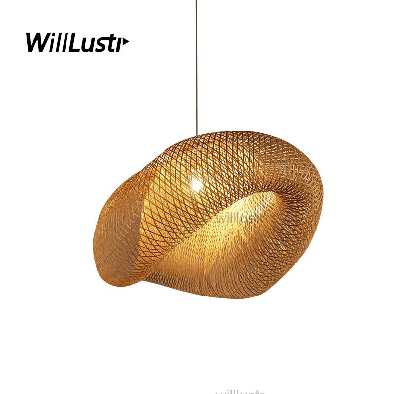 willlustr bamboo pendant lamp wood suspension light post modern design bicorn hanging lighting natural hotel restaurant nordic