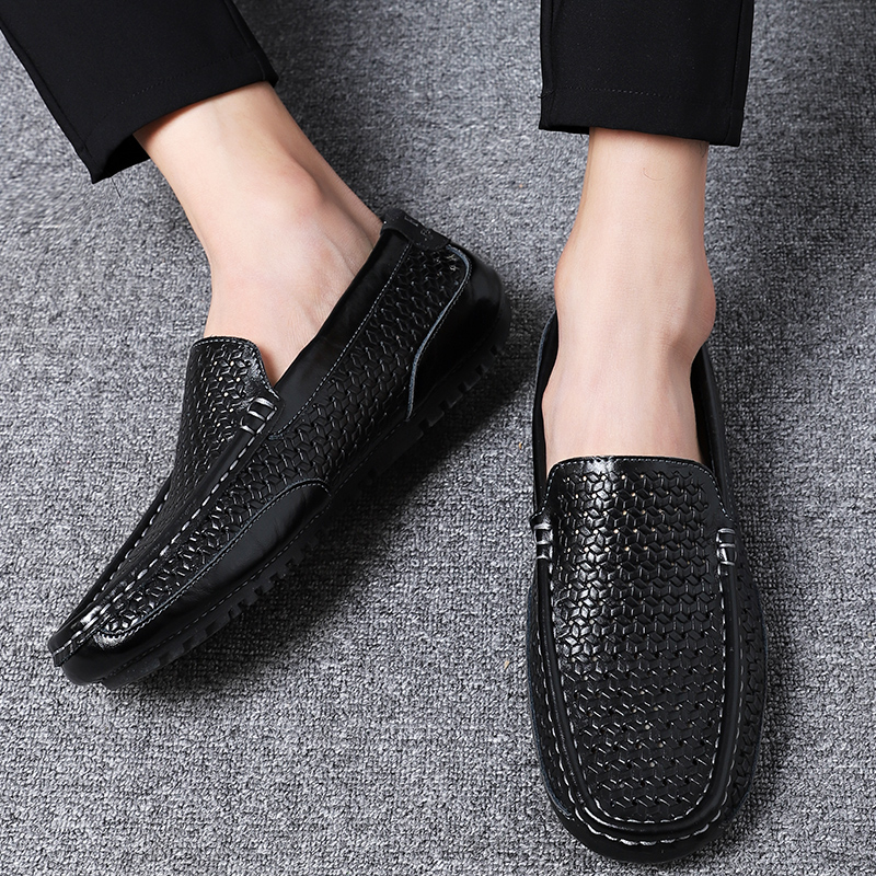 Summer Men Shoes Casual Luxury Brand Genuine Leather Mens Loafers Moccasins Italian Breathable Slip on Boat Shoes Black JKPUDUN
