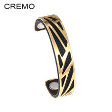 Cremo Vintage Stainless Steel Bracelets Gold Women Delicat Manchette Bangles Hollow Cocktail Arm Cuffs Bijoux Femme Jewelry(China)