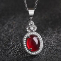 Female wine red garnet necklace