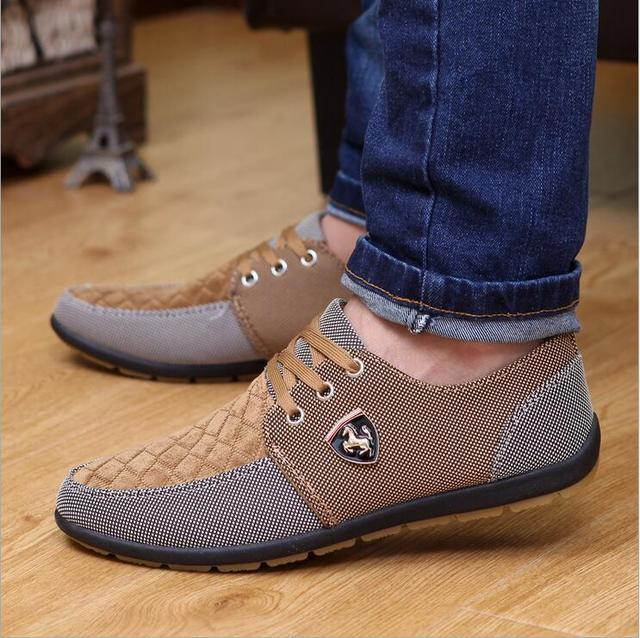 2016 мужская Повседневная Обувь мужская холст обувь для мужчин обувь мужская мода Квартиры Кожа модный бренд замши Zapatos де hombre