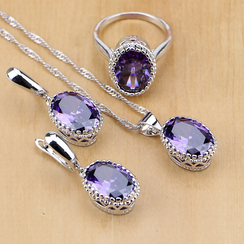 925 Sterling Silver Jewelry Purple Zircon White Crystal Jewelry Sets For Women Earring/Pendant/Necklace/Ring wholesale price 16new ^^^^ewellery green stone inlay zircon earring pendant ring sets