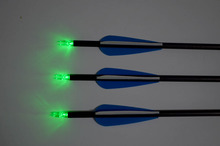 6piece Green LED Lighted archey Nock Carbon Arrows Spine 400 Recurve Bow Hunting Shooting Hunting Bow Arrow