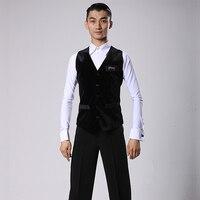 Ballroom Latin Dance Shirts Men Black Front Velvet Back Nylon Vest Coat Male Flamengo Competition Performance Dancewear DNV11343